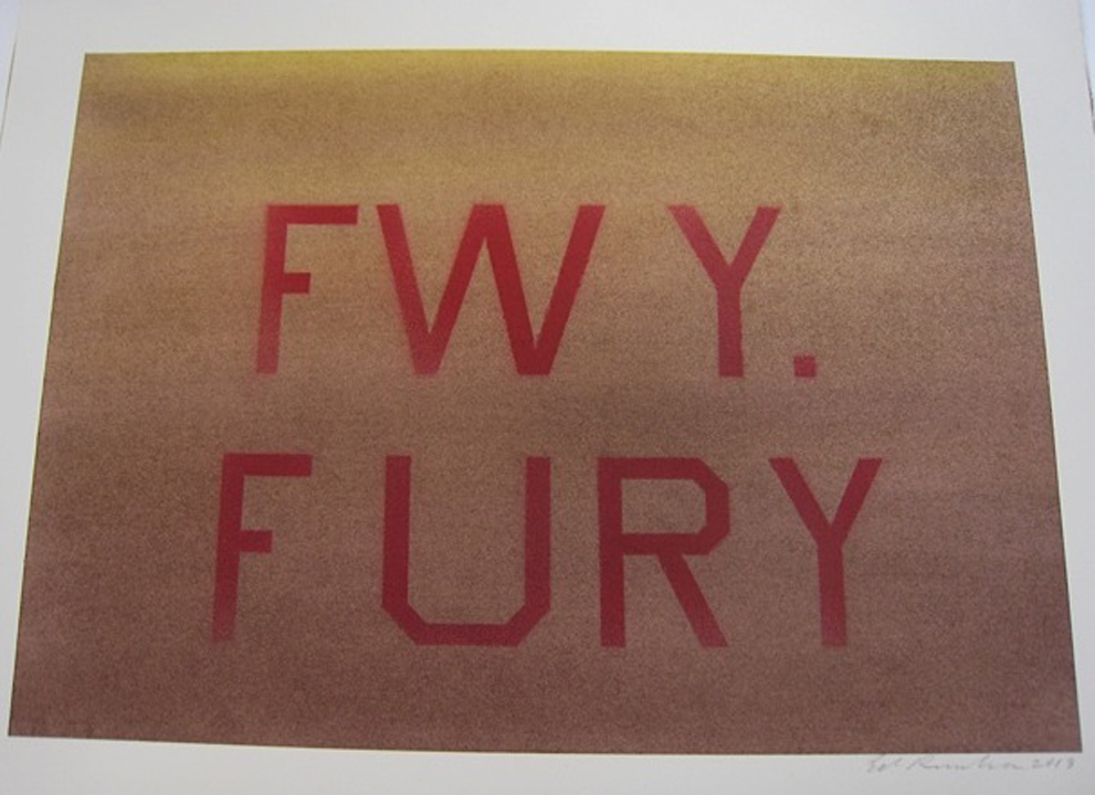 Edward Ruscha  FWY. FURY  2013 Acrylic on board 11 x 15 in. (27.9 x 38.1 cm.)