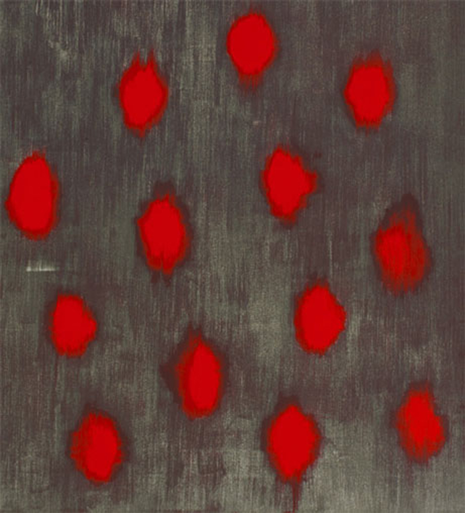Ross Bleckner    Throbbing Hearts    2005   12-color screenprint   Edition: 250   23 x 21 in. (58.4 x 53.3 cm.)