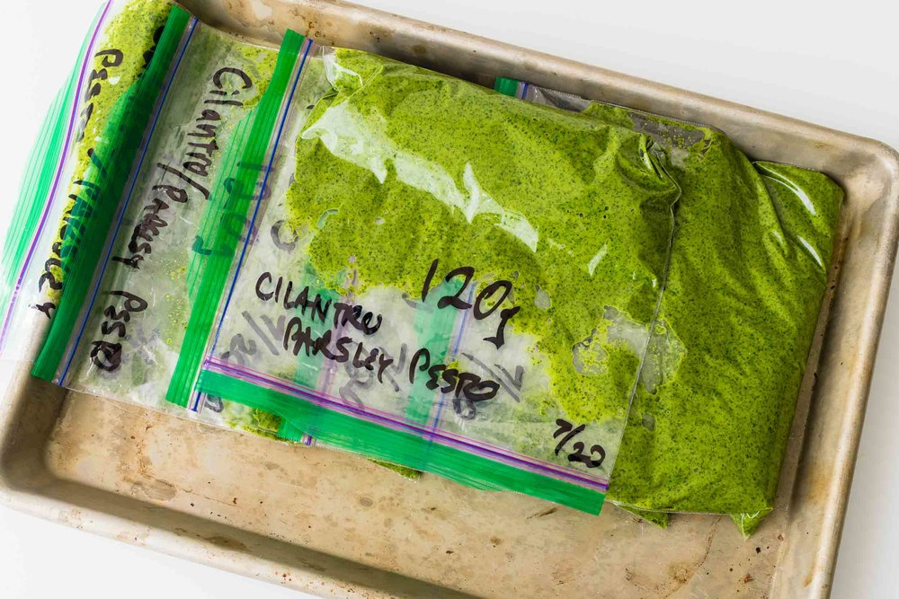 JUST THE [COOKING] TIP - Weigh your pesto like a drug dealer and then freeze it so you can always have pesto on hand. It'll keep for 6 months.