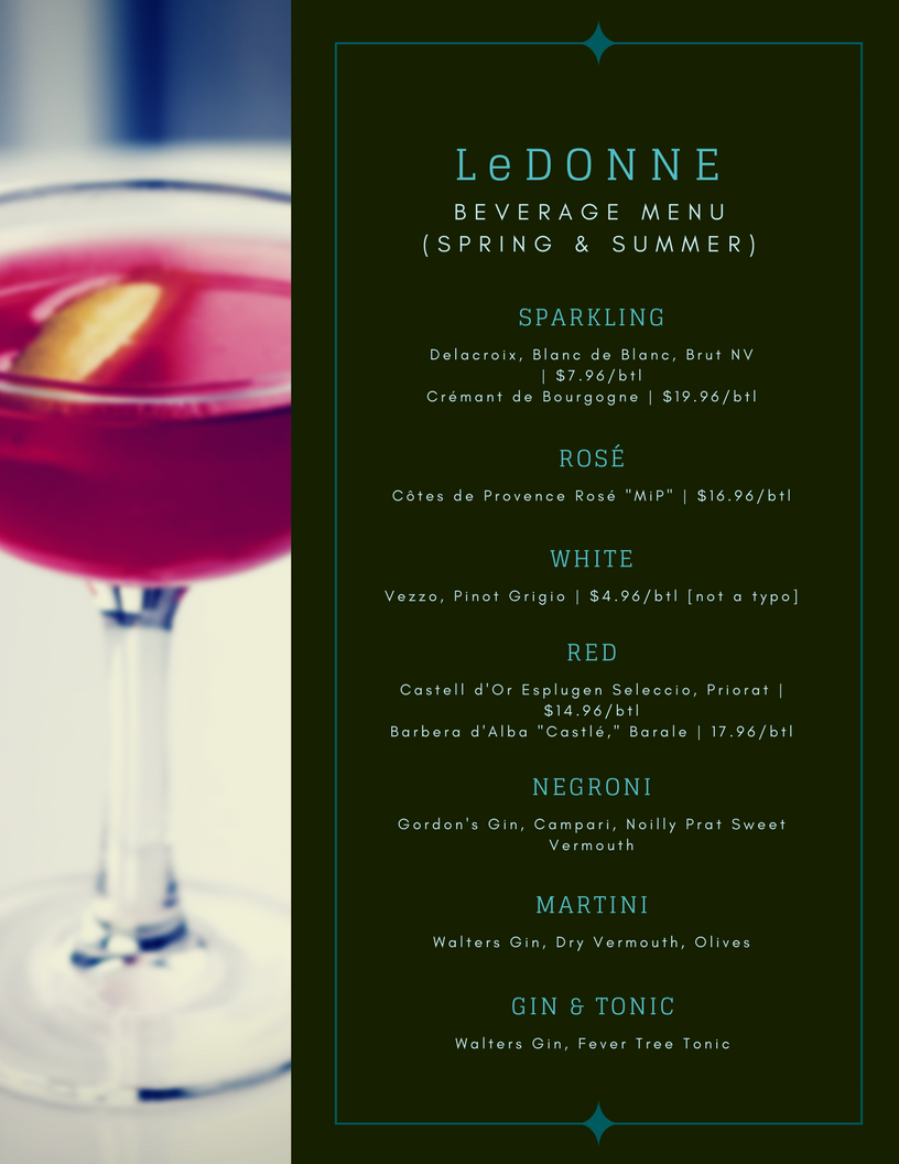 Anthony LeDonne's Beverage Menu (Spring & Summer)