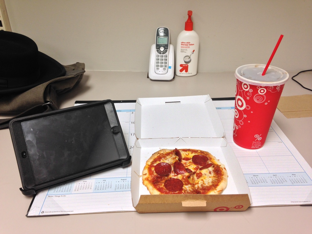 Lunch time consisted of pizza and soda. Lunch of champions!