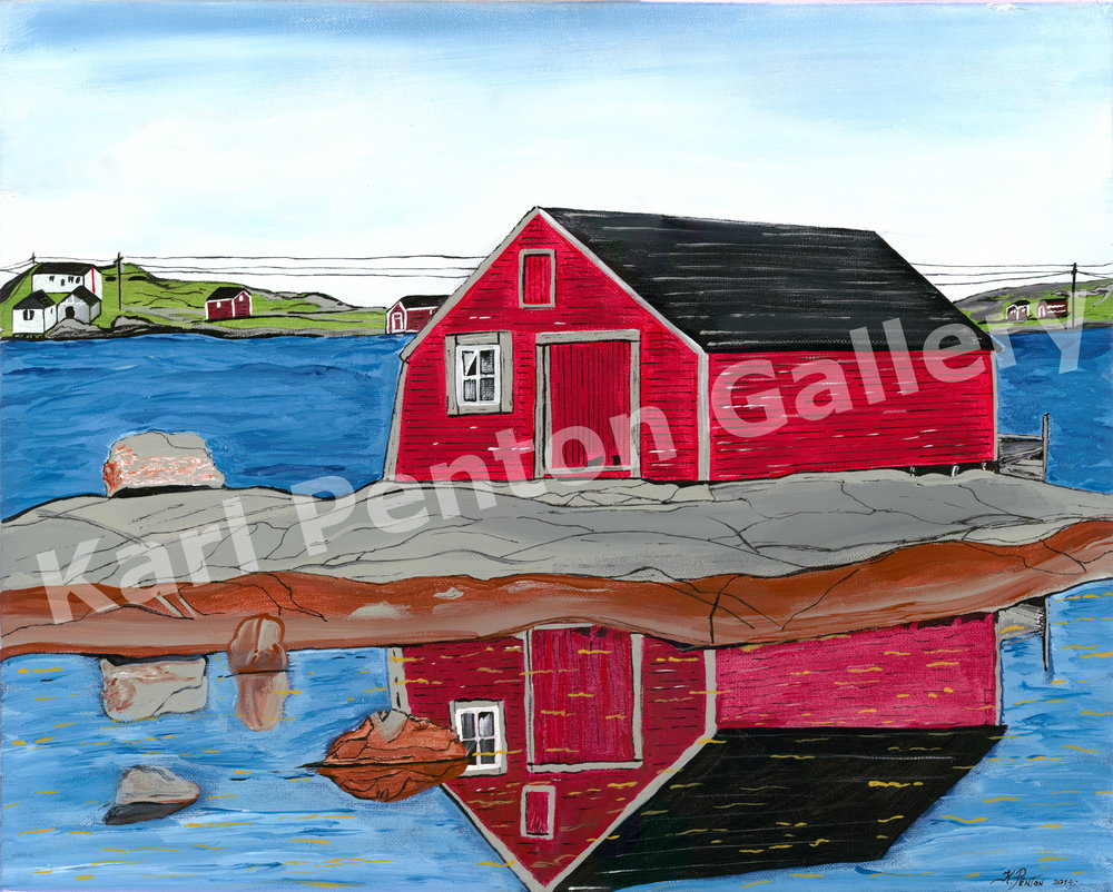 Calm Day - Keefe's Stage in Tilting , Fogo Island is known as the most photographed fishing stage in Canada.(Original in Private Collection)