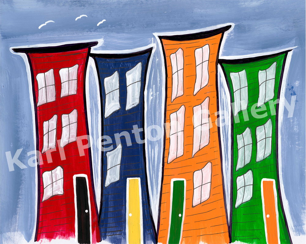 Dancin' Jelly Bean Row - Capturing the fun and bright colors of the East Coast of Canada, this painting began as a quick sketch but captured the imagination of many.(Original In Private Collection)