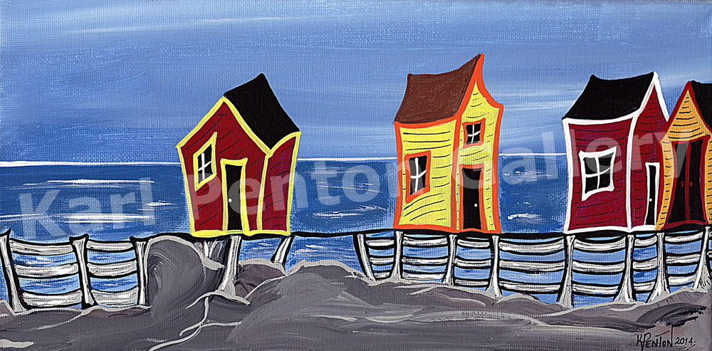 Livin' on the Edge - The title says it all! Many of the families who thrived and built communities during the fishery days, were living on the edge of the world!(Original in Private Collection)
