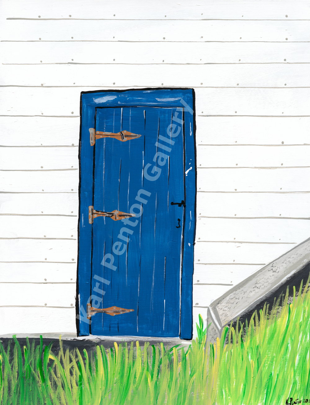 Blue Door - This door with the old fashioned latch and the long hinges is the type of door referred to as a
