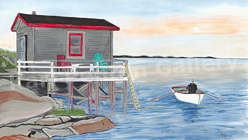 Taylor Made Evening - Grole is a now re-settled town in Hermitage Bay, NL. This painting captures Mr. Taylor taking his boat onto the water beside his boathouse.(Original in Private Collection)