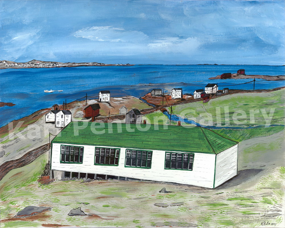 View from Clay Cove - Some of Karl's older siblings and cousins went to this one room school on the south side of Joe Batt's Arm on Fogo Island, NL.(Original in Private Collection)