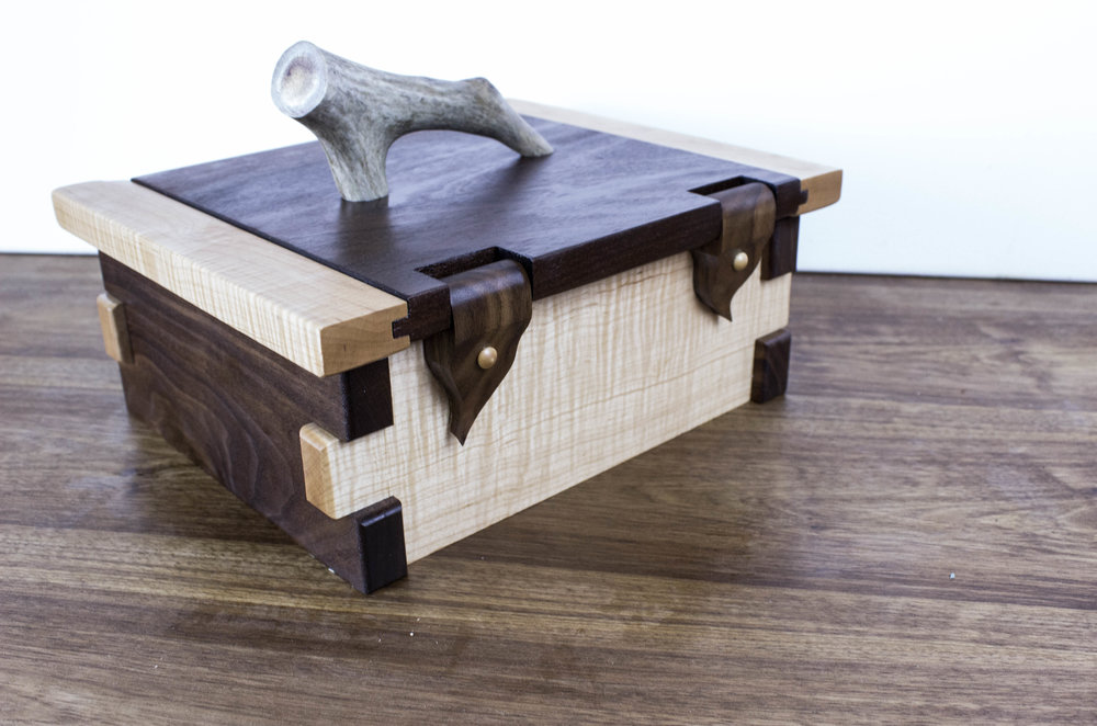 The hunters box, rear view, wood hinges