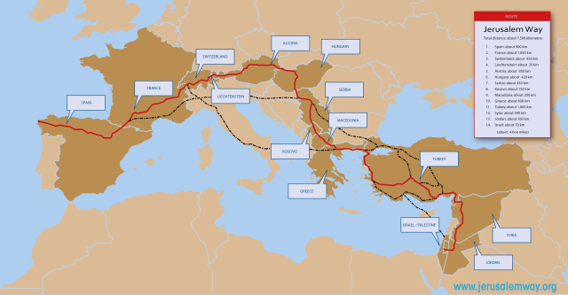 Different pilgrimage paths to Jerusalem courtesy of www.jerusalemway.org