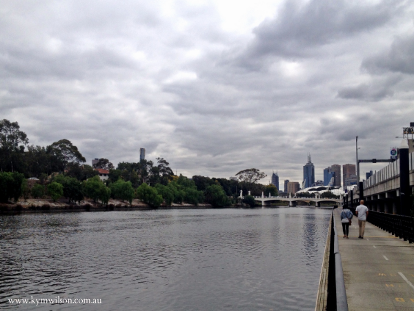 Main Yarra Trail into Melbourne beside the M1 freeway and Yarra River