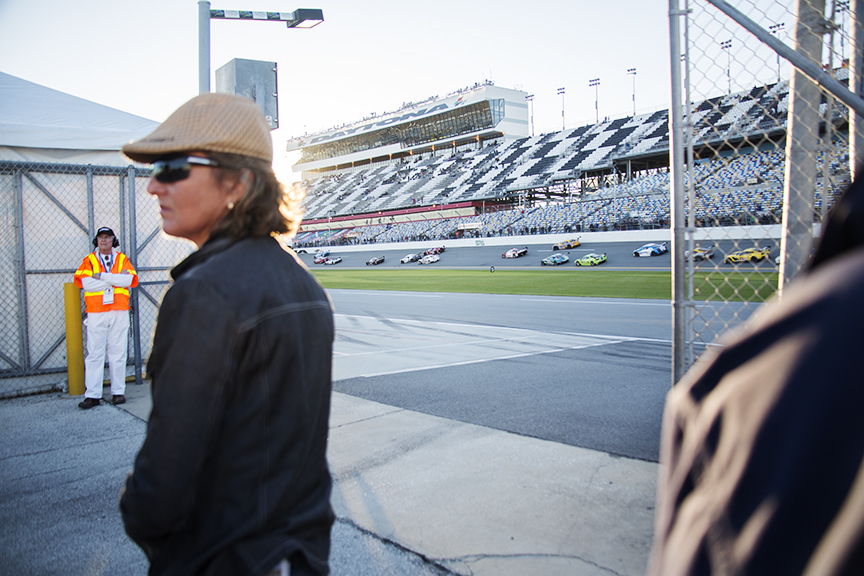 The race stops during the  Rollex 24  event, at Daytona International Speedway, after two participants get into a severe car crash.  © Karen Arango