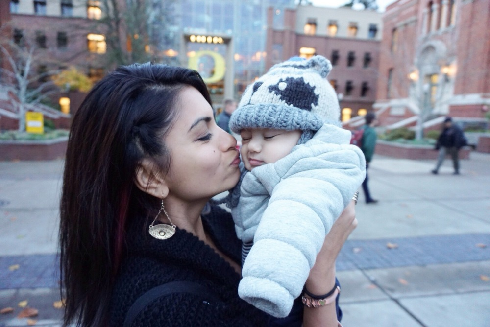Kisses from auntie, beanies and layers to keep Luca warm.
