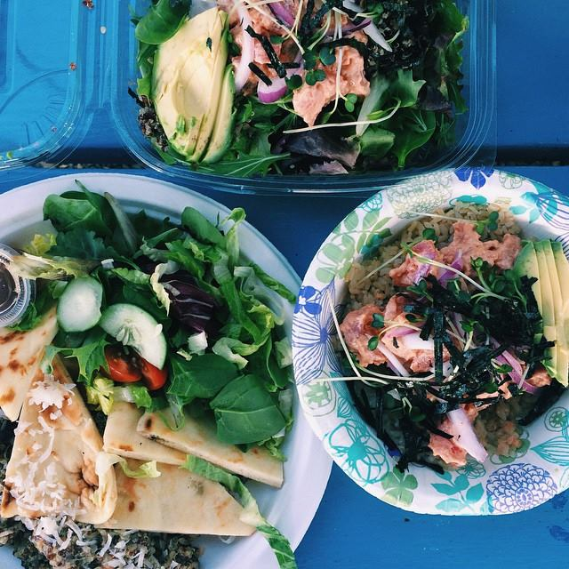 Coconut curry quinoa with pita & salad, spicy ahi salad with quinoa & a spicy ahi bowl with avocado on brown rice. #droolz