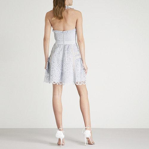 4deff9aea17 Pale Blue Circle Floral Lace Mini Dress — LA MOON DRESS