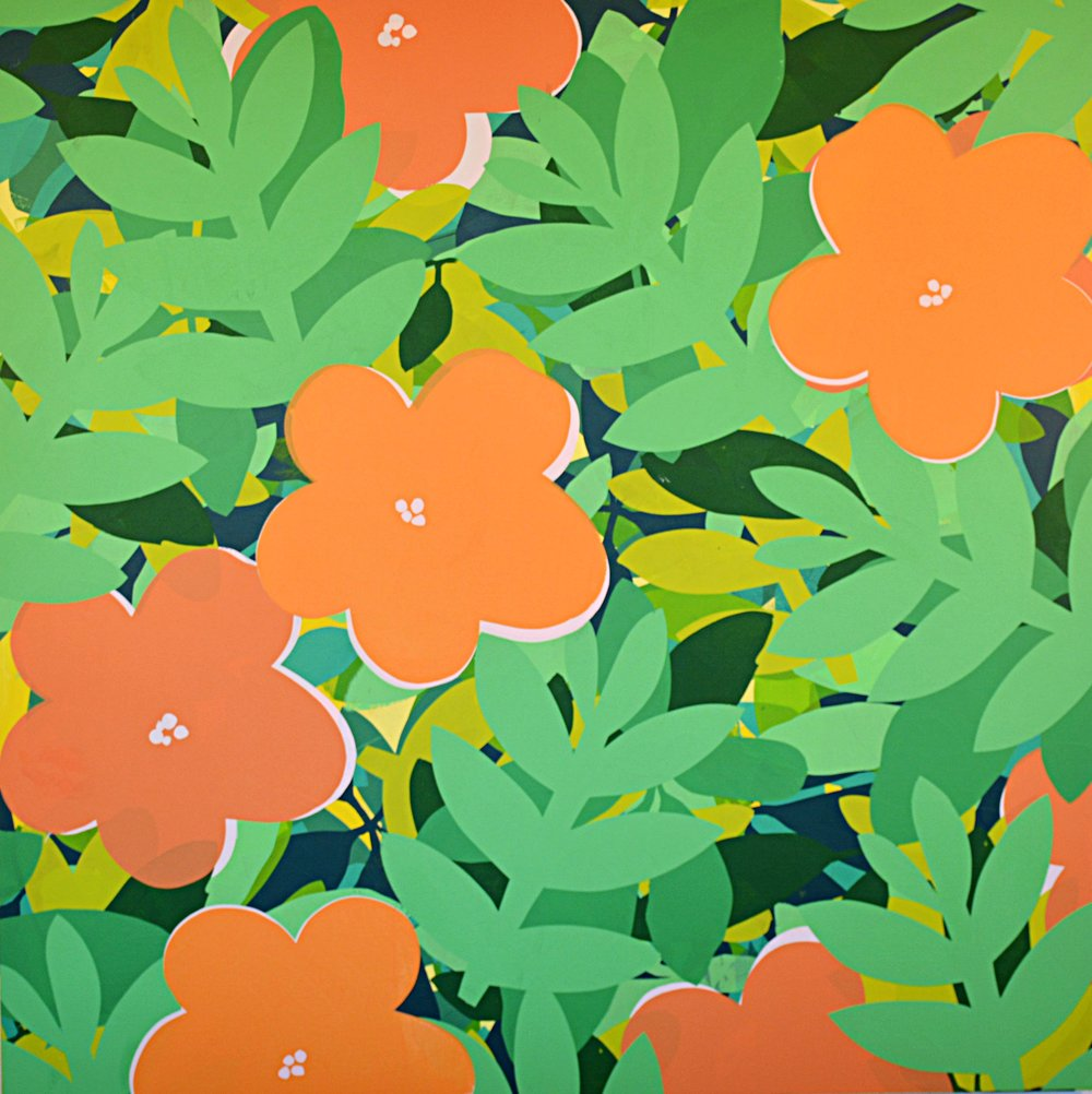 "Impatiens. 2017, Acrylic on Panel, 48"" x 48"""