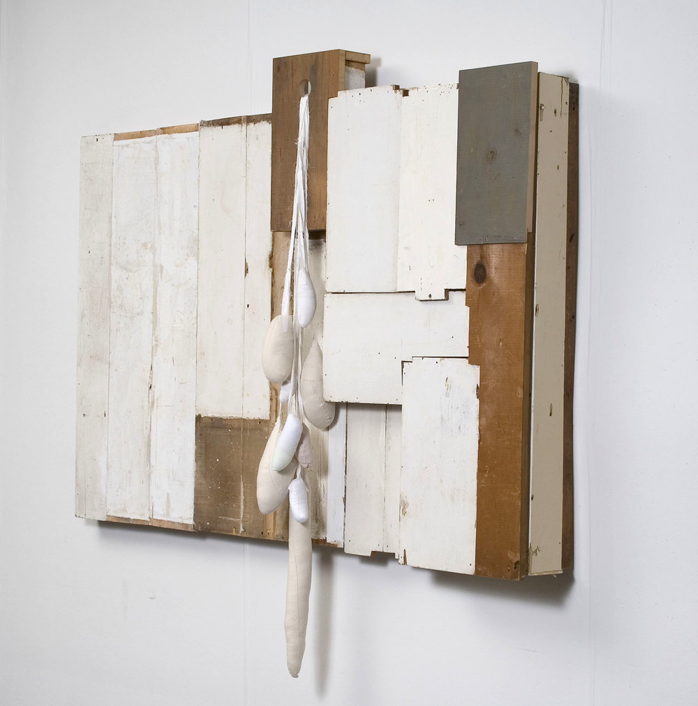 "Untitled. 2008, Wood, Sewn Fabric, Felt, 50"" x 49"" x 7"""