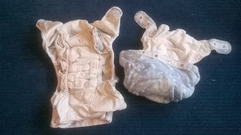 This is an example of the hand-made diaper fillers. They are 100 percent cotton and quite well-made. There is a snapping filler that works like the water-proof covers and an extra filler for nighttime use inside the cover.