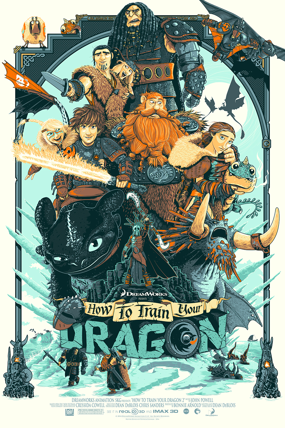 "Family Tree / How To Train Your Dragon 2 - Regular   10 color Screenprint / 24""x36"" / 60$"