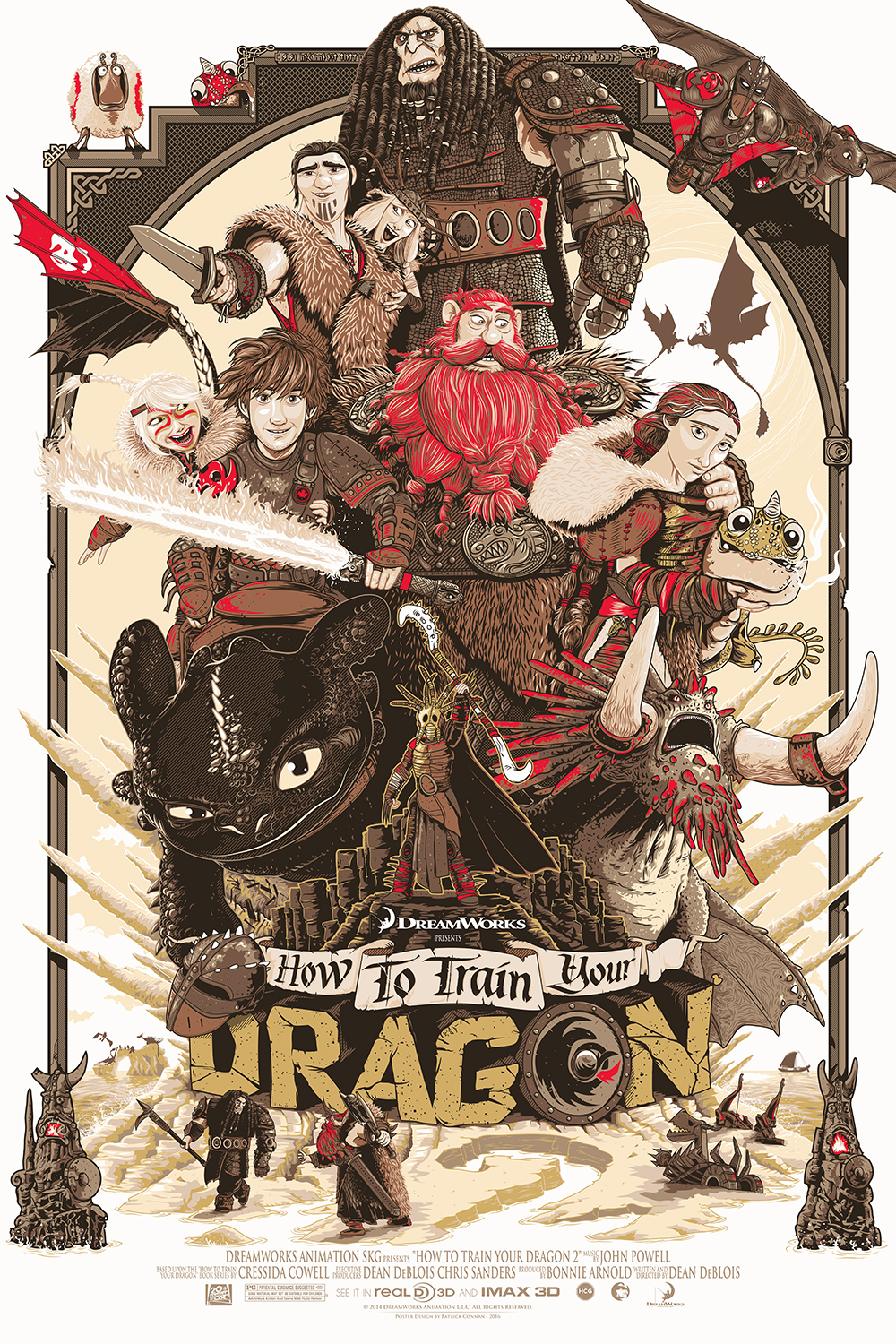 "Family Tree / How To Train Your Dragon 2 - Variant 10 color Screenprint / 24""x36"" / 60$"