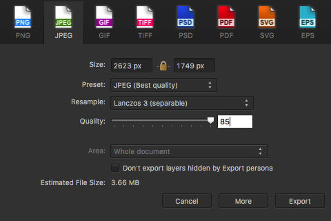 Affinity Photo has excellent exporting options including Photoshop files with editable layers
