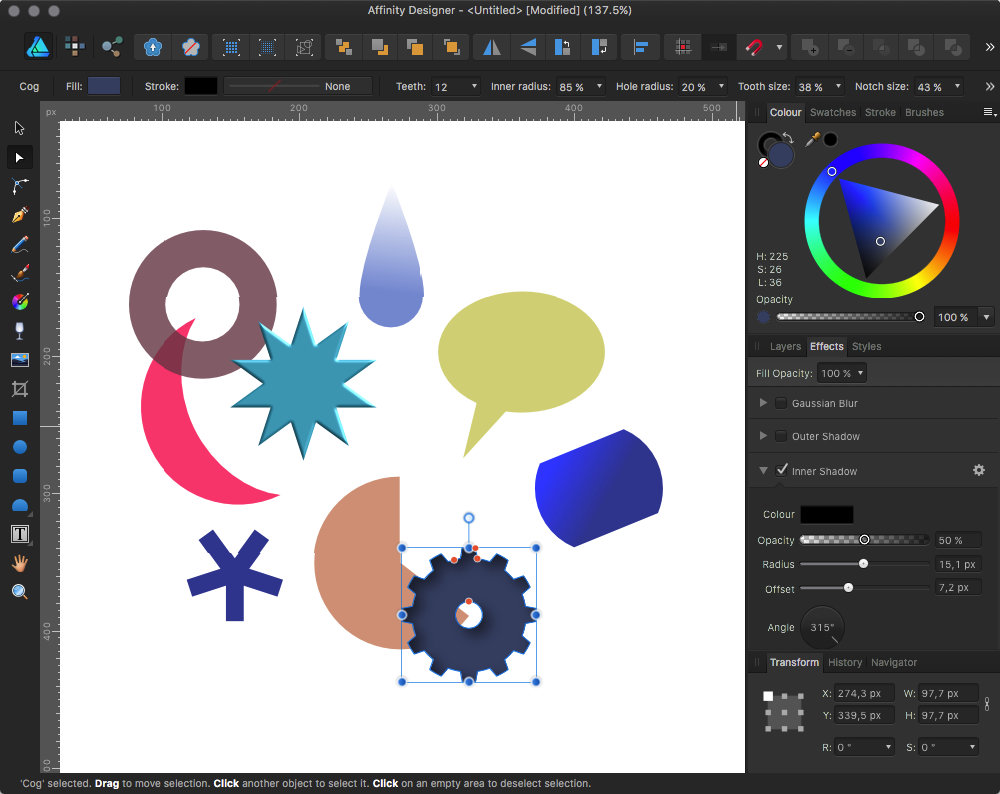 "Affinity Designer comes with lots of adjustable ""smart"" forms and powerful effects"