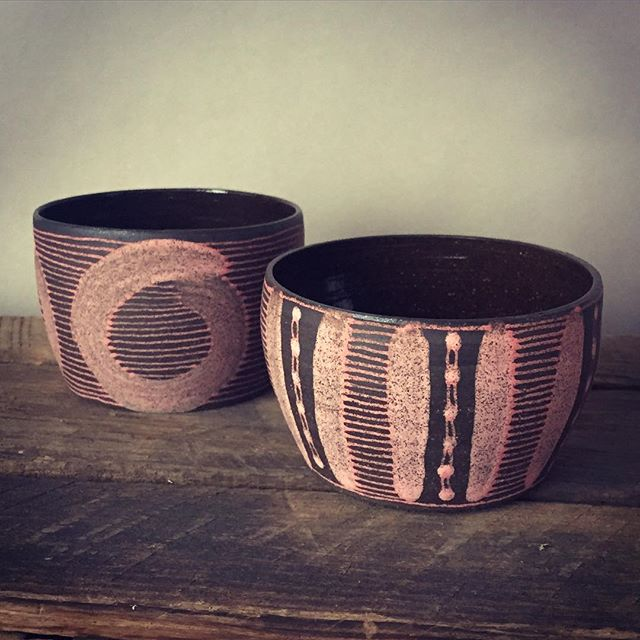 I fired these hotter than normal and they came out really dark and the pink is super speckly. I think I will go back to a lower temp. But these are great little mugs. I'll be putting them on my Etsy shop. #throwingbowls #pottery #clay #mugs #handmade #ceramics #contemporaryceramics #brooklynbornceramics #pink
