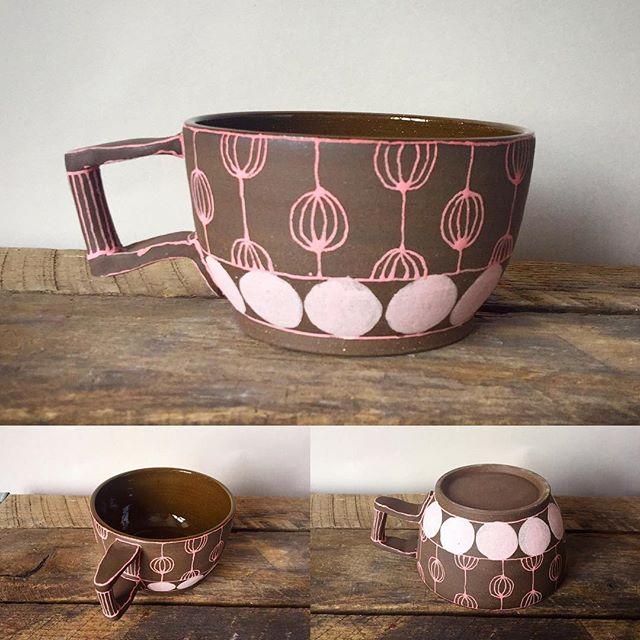 Funky mug. #pink #mug #pattern #ceramics #clay #pottery #etsy #brooklynbornceramics #art #coffee #tea #love