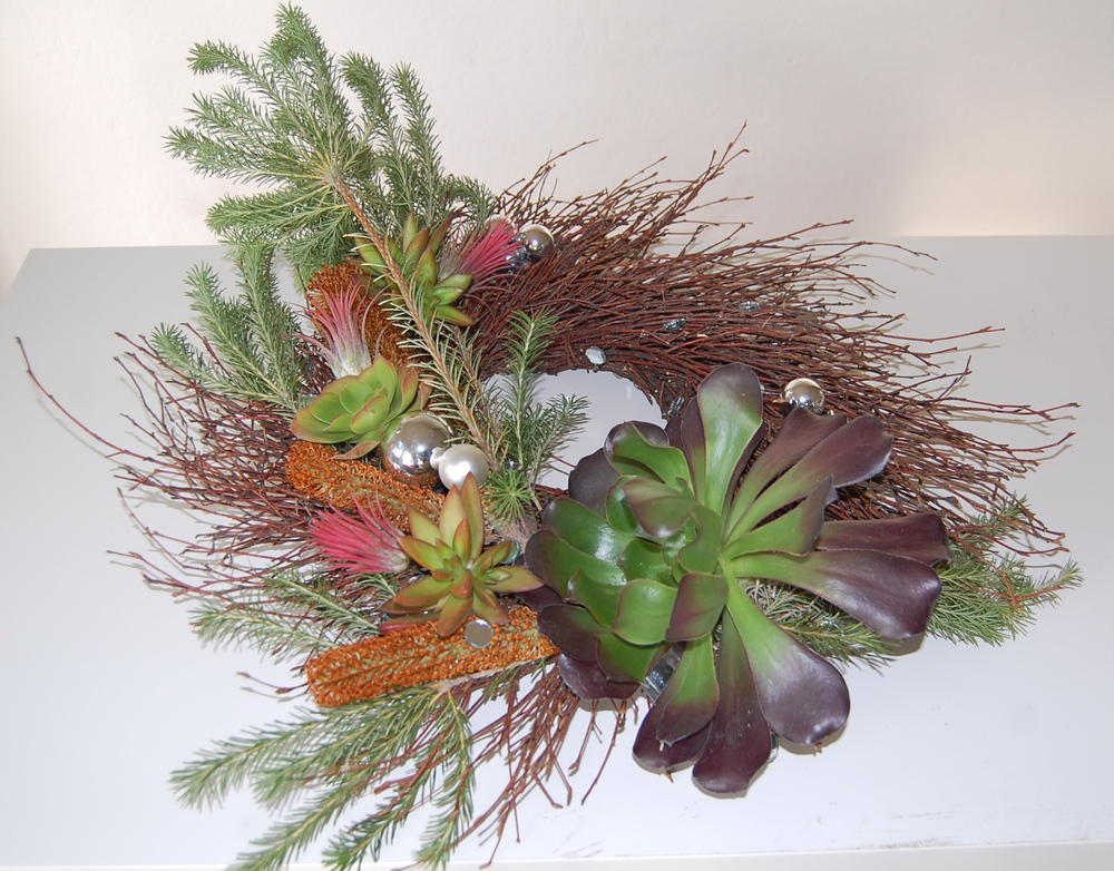 Twig Centerpiece / Door Wreath With Banksia Branches, Succulents and Tillandsia