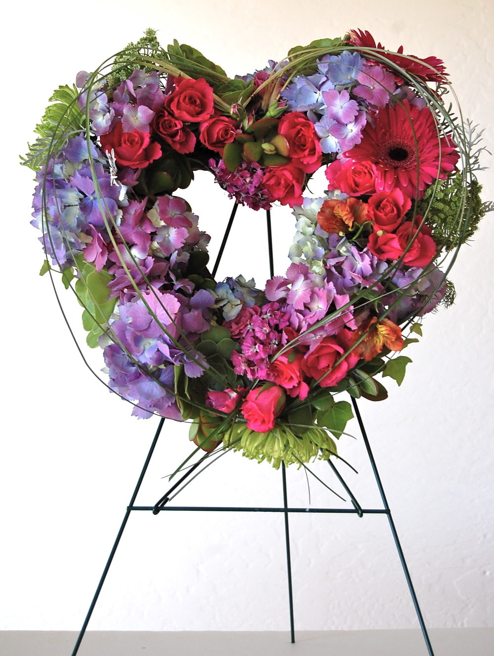 Custom Sympathy Heart of Fresh Florals and Succulents