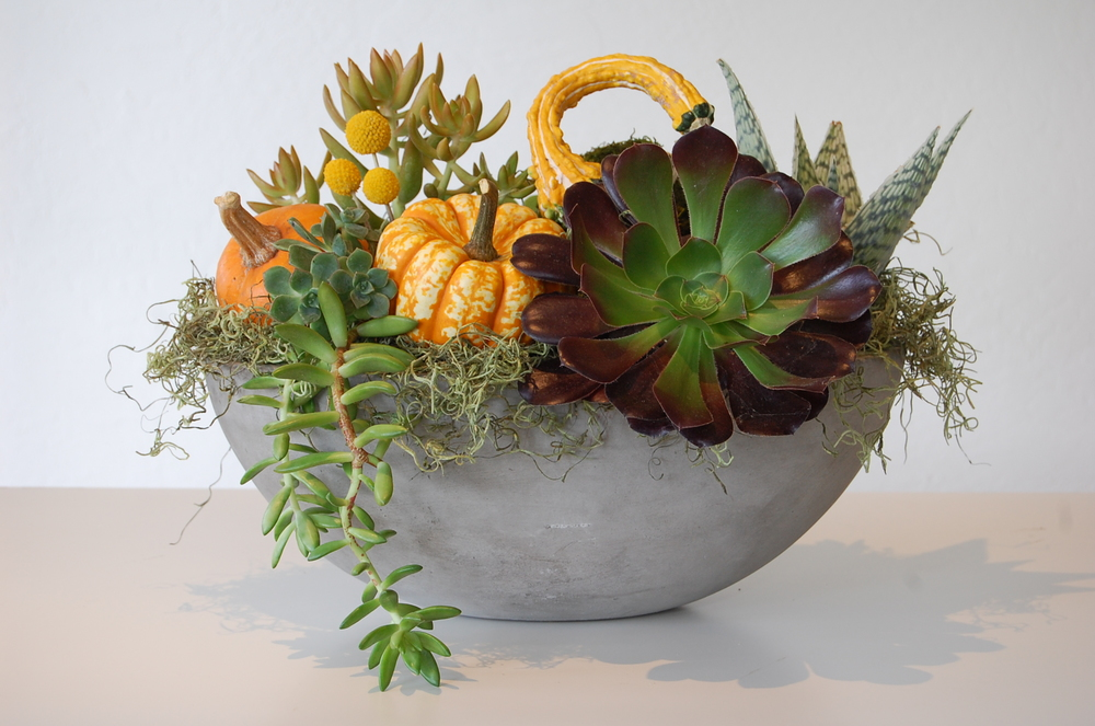 Thanksgiving Concrete Oval Bowl in Autumn Theme