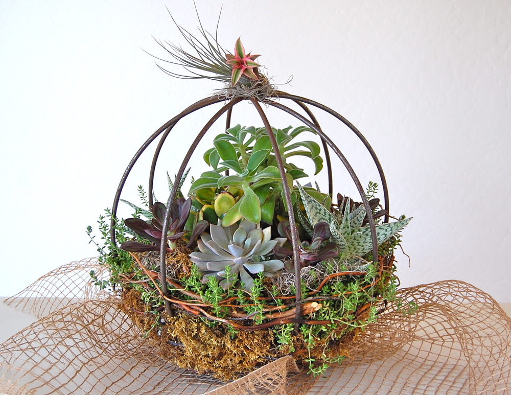 "15"" Metal Orb- Centerpiece or Hanging Garden With Extension Hook"