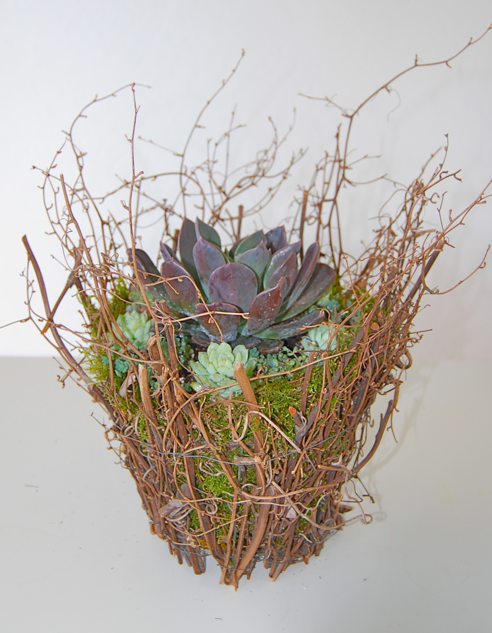 "TWIG BASKET- (SOLD OUT) 11""w x 14""h – $68. (only one available)"