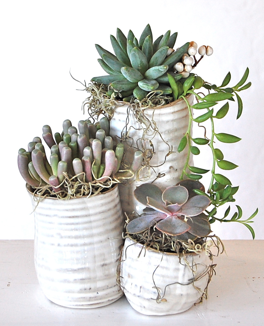 "THREE'S COMPANY (pots all attached together) 5.5""w x 9""h – $55. each"