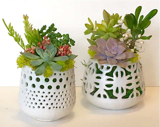 "CUT-OUT POTS Polka Dot:  4.5""w x 8""h – $38. each  /  Flower:  5""w x 8""h - $38. each (Sold out.)"