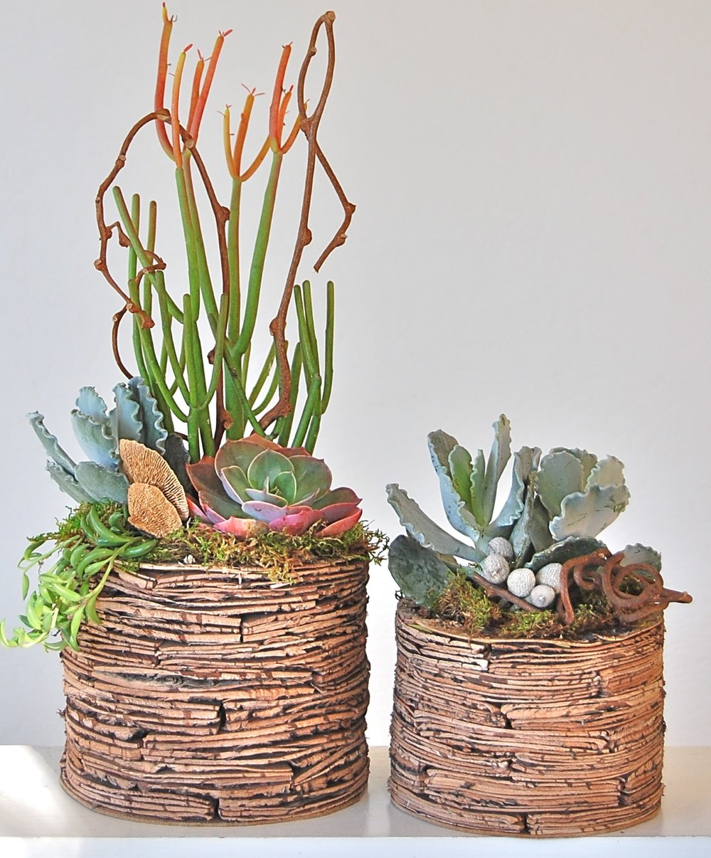 "STACKED BIRCH BARK POTS Small: 5.5""w x 8""h - $45; Large: 7""w x 11""h - $65. (larger size sold out)"