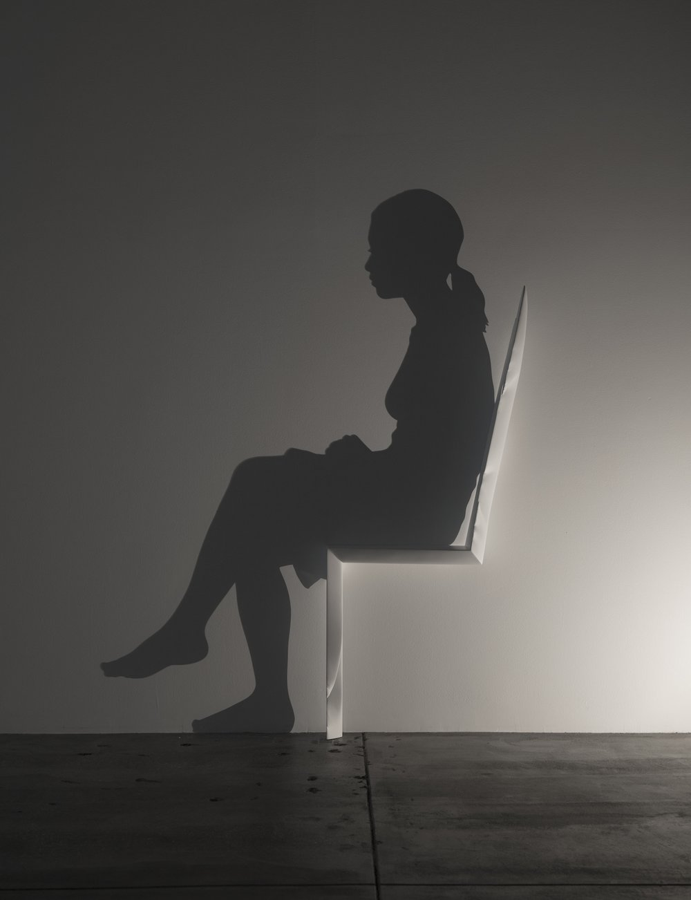 CHAIR    2014 H110, W50, D15 cm Carved wood, single light source, shadow Private collection