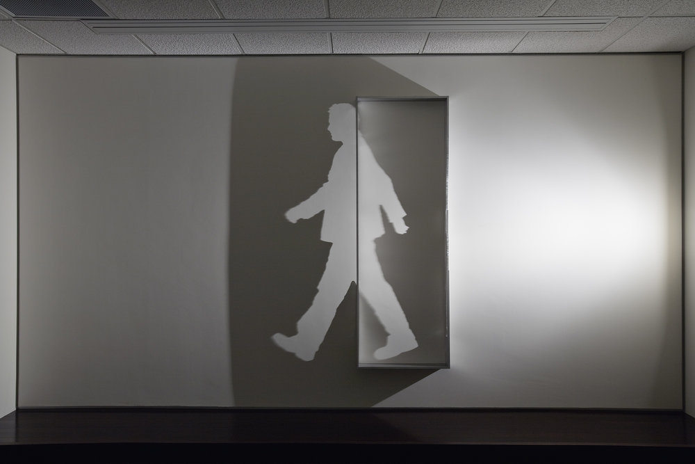 PATHWAY    2008 H183, W150, D10 cm Aluminum with cut-outs, single light source, shadow Commissioned by Seattle City Light, Washington, USA