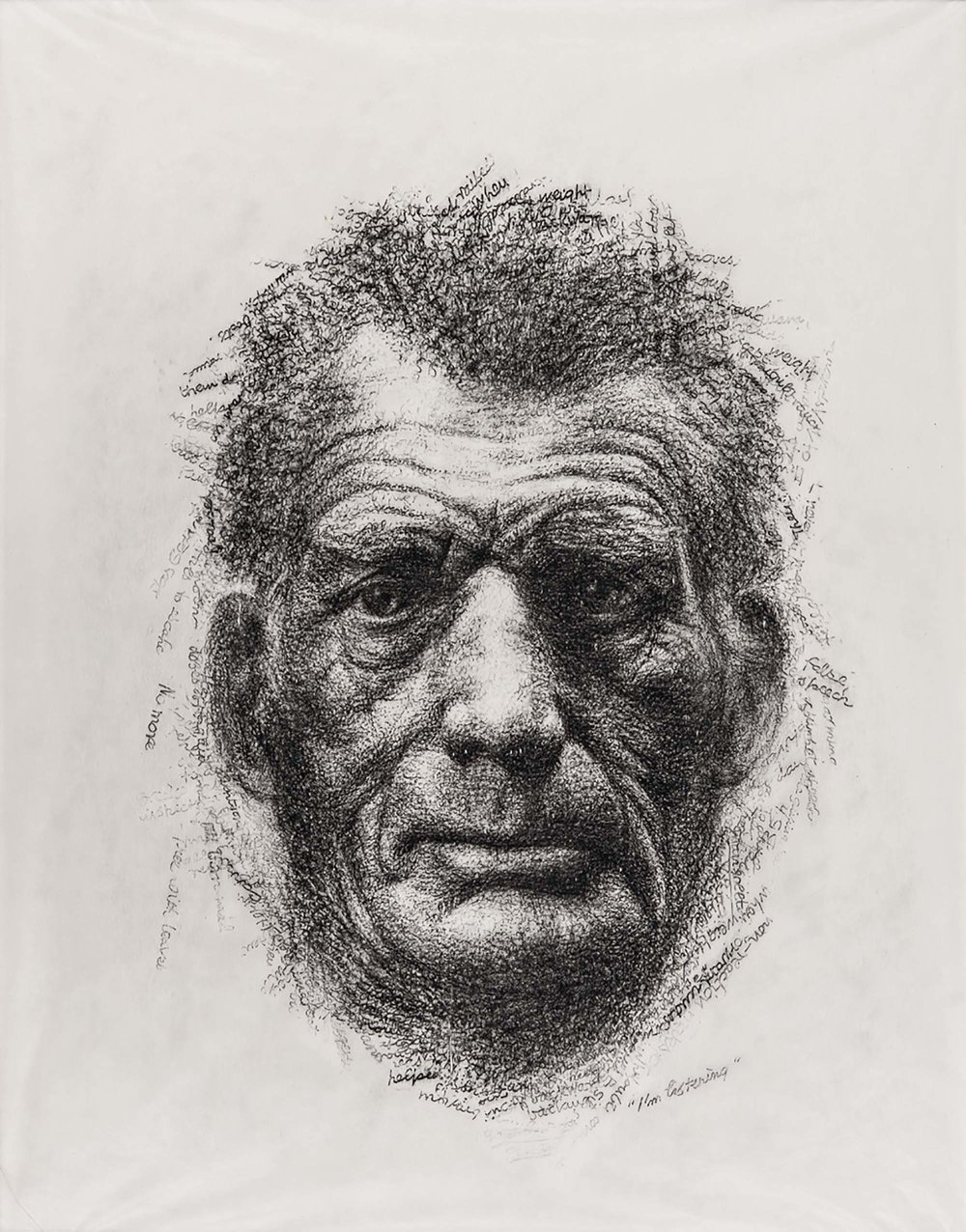 BECKETT IN HIS OWN WORDS    2000 H45, W35 cm Japanese paper, graphite Commissioned by Cryptic, Glasgow, UK