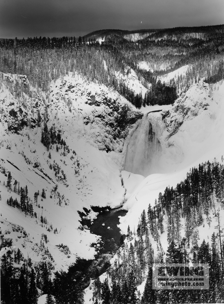 Lower Falls in Snow Gand Canyon of the Yellowstone