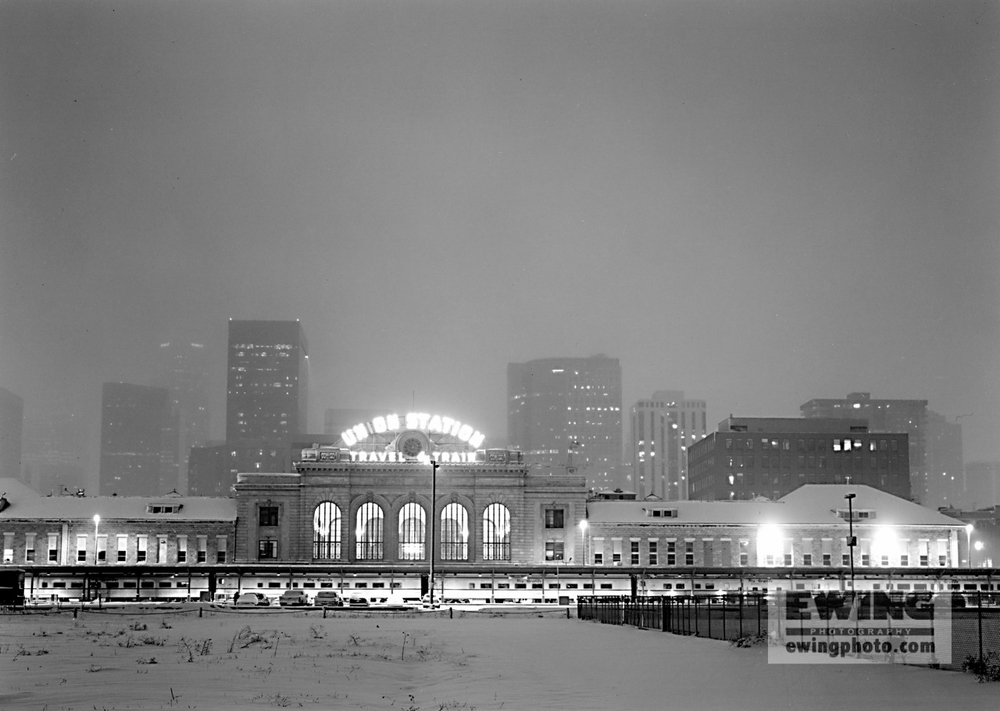 Union Station, Night Snow Denver, Colorado