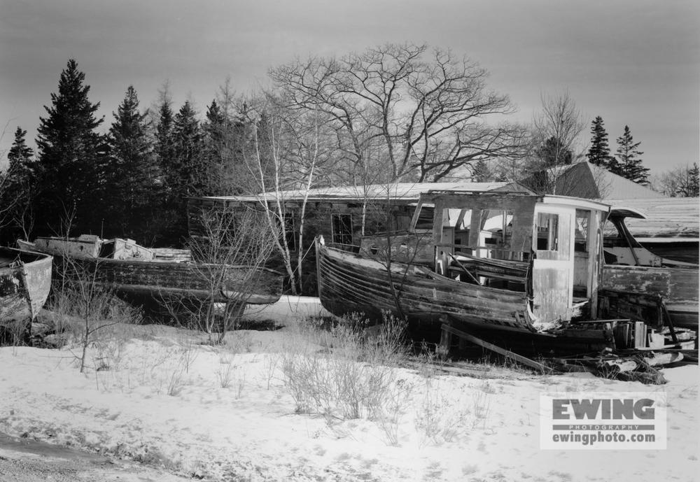 Andrew's Boatyard, Winter Snow Sorrento, Maine