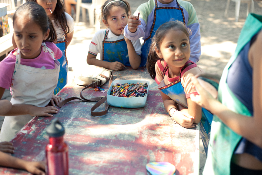 A few kids at Entre Amigos getting ready to make some crafts for the Fifth Annual Children's Art Festival and Auction.    Entre Amigos is Non Profit community center based in San Pancho, Mexico.