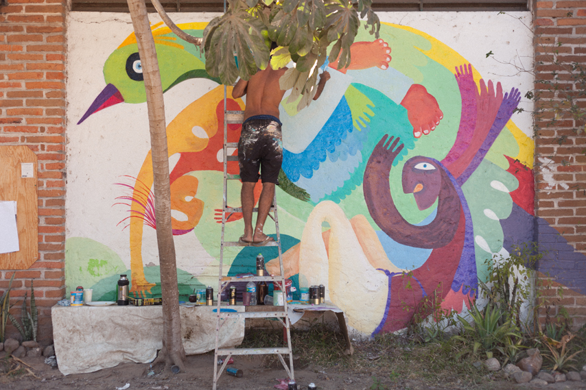 Mural painting process at the community center, Entre Amigos. San Pancho, Mexico.
