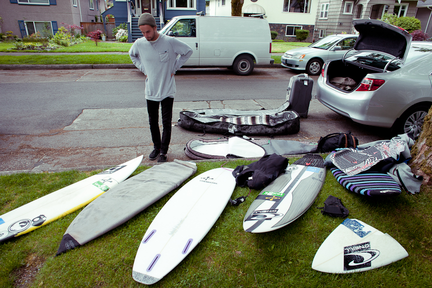 Packing the car with professional surfer Logan Landry before we peace out for a week long photo trip before the Rip Curl Pro Tofino.