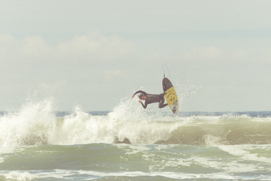 Spent the past week with Logan Landry, Buzzy, and the  Sanuk  crew. Logan Landry getting freaky at the Rip Curl Pro Tofino!