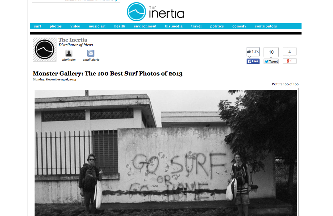 "A couple photos of mine made it into ""The 100 Best Surf Photos of 2013"" on  The Inertia!"