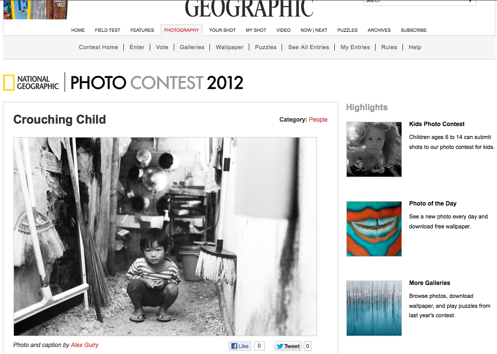 Check out my photo and caption that's currently in the 2012 National Geographic Photo Contest! This one wasn't cheap so please support me by clicking 'like' on the link below. xo.