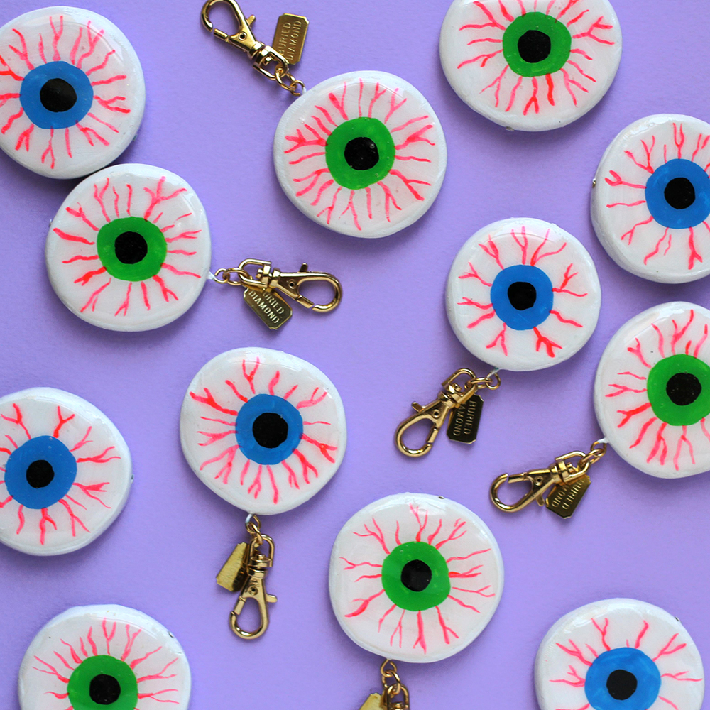 Bloodshot eyeballs in green & turquoise. There are more turquose ones than green.