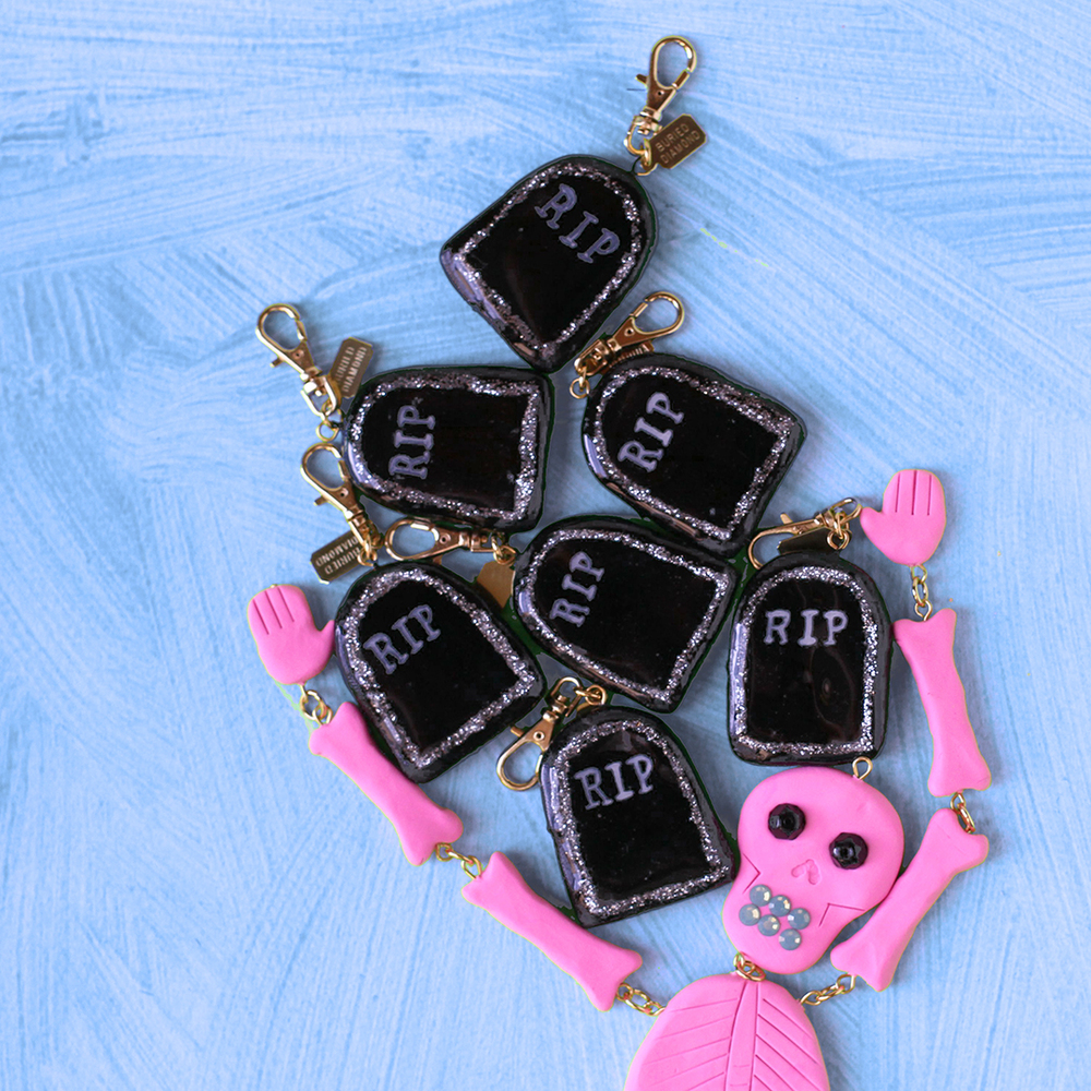 Super shiny black tombstones with silver glitter accents.
