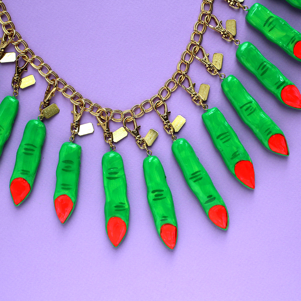 Neon green witch fingers with neon coral nails!